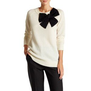 Kate Spade Cream with Black Bow Wool Tunic Sweater